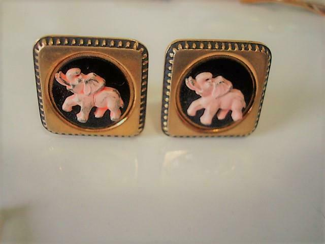 Vintage Black and Gold Tone Cuff Links With Pink Elephants Signed Anson As Is