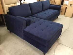 Picket House BORDEAUX Tufted Sofa with Chaise Lounge - Navy (New other)