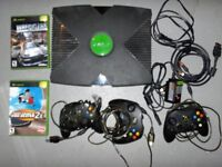 XBOX Console, 3 Controllers, 2 Power Supply and 2 Games