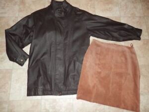 2 leather jackets (men's and ladies) and suede skirt