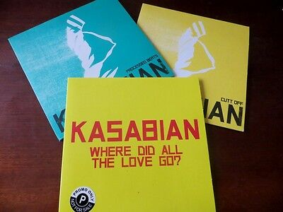 KASABIAN- LOT de 3 x PROMO CD  WHERE DID ALL THE LOVE.. -CUTT OFF - PROCESSED ..