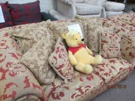 ***BARGAIN+TO CLEAR TODAY+COLLECTION ONLY LARGE 3 +2 SEATER BROWN DESIGN FABRIC SOFA+GOOD CONDITION