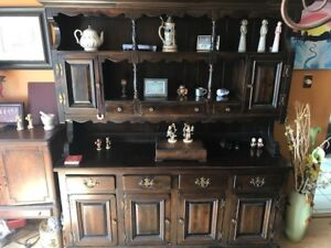 Solid Wood Dining Room Table With Matching Hutch
