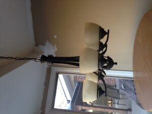 Stunning 5 globe chandelier with matching flush mount