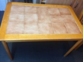 Table and 4 chairs real wood with tiled top £10 the lot