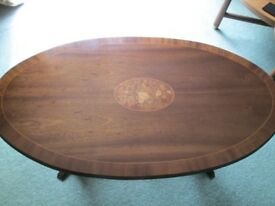 BEAUTIFUL LARGE OVAL COFFEE TABLE-LOTS OF DETAIL-INLAY DESIGN-COLLECT OSSETT-WAKEFIELD.