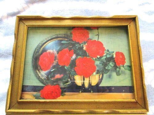 Rare Large Antique Italian Wood Romantic Tole Red Valentine Roses Jewelry Box
