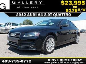 2012 Audi A4 2.0T QUATTRO $179 bi-weekly APPLY NOW DRIVE NOW