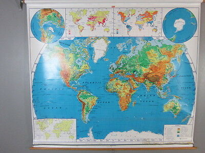 """2 Vintage NYSTROM School Pull Down World USA Maps 65""""X71"""""""