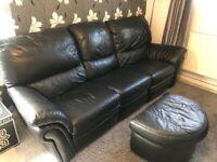 Recliner Sofa 4 Piece Set incl. Foot Stool - Black Leather