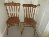 kitchen chairs, 2 slat back wooden, vintage