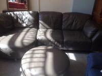 Comfy corner sofa with pouffe