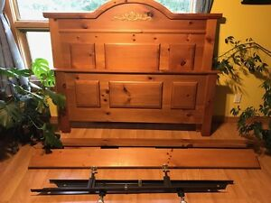 queensize, solid pine wood bed frame with rails