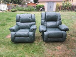 dark green leather recliners