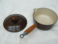 Dark Brown Le Creuset Saucepan with Lid