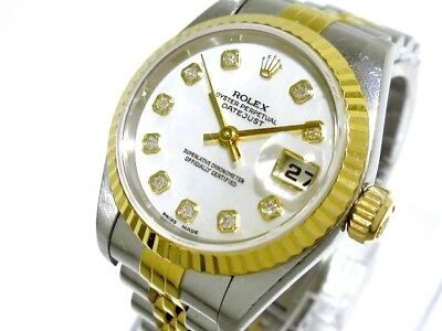 Auth ROLEX Datejust 69173NG Silver, 18K Yellow Gold, WhiteShell T362031 Women