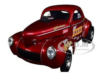 "1941 GASSER ""HOOKER HEADERS"" METALLIC RED 1/18 DIECAST MODEL CAR ACME A1800910"