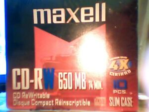 MAXELL NEW,  10 SLIM CASE CD-RW  DISCS 650MB 4X