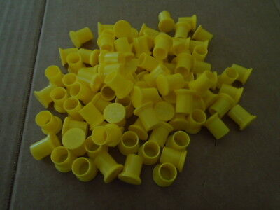 PACK OF 100 EA NOS YELLOW PLASTIC PROTECTIVE CAP PLUGS  P/N: MS90376-8Y