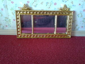Streets Ahead Dolls House Accessory 1:12 Scale Gold Coloured French Mirror D1685