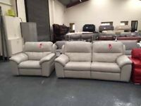 Mathis light grey leather manual recliner 3 seater sofa and cuddler armchair