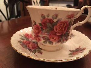 Five fine bone china tea cups - Royal Albert, Antique Rose, etc.