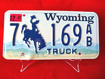 """Wyoming License Plate with Buckin Bronco """"7 169 AB"""" New Condition"""
