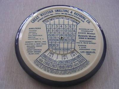 Great Western Smelting   Refining Co W  Perpetual Calendar Advertising Mirror