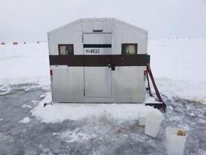 5x7 fish hut on skis
