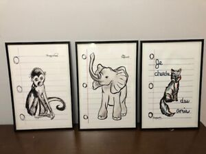 Set of 3 framed animal prints from New Orleans