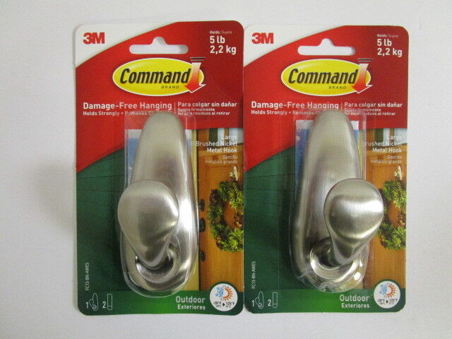 ~COMMAND~ 3M LARGE 5LB Outdoor Brushed Nickel Metal Hooks