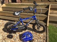 Concept Spider boys bike, Blue with spider web, 12inch, stabilisers, Matching Helmet, exc. cond.
