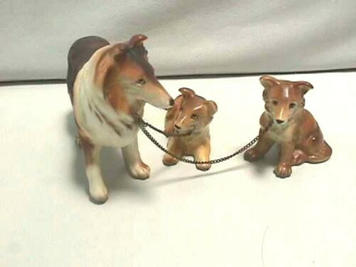 VINTAGE JAPAN PORCELAIN COLLIE DOG MOM WITH 2 PUPS ON CHAIN LEASH
