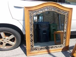 Large Bevelled Mirror with Wooden and Metal Frame