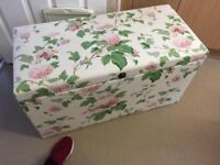 Excellent Floral Covered Solid Oak Linen Box Antique Only £40