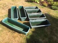 7 dark green garden planters (rectangular)