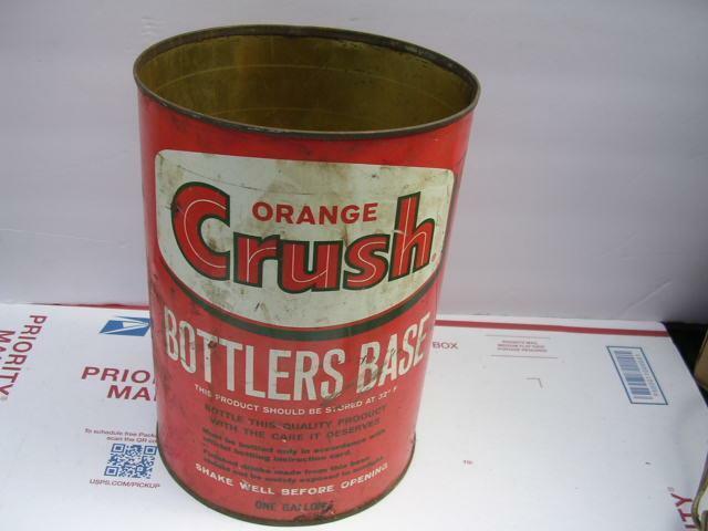 Vintage Orange Crush Bottlers Base 1 Gallon Can
