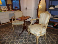 Pair of Bergère Chairs & Oval Table