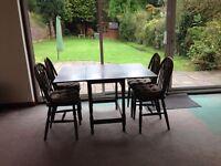 Drop leaf mahogany dark wood dining table + 4 chairs