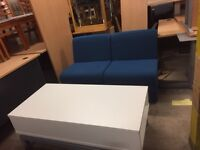 Blue reception chairs (x 2 ) Plus white coffee table