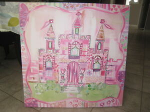Princess Castle Wall Art Canvas pink purple painting Disney