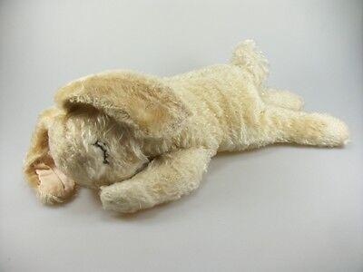 Steiff  Hase ca. 35 cm liegend mit Silberknopf alt Mohair