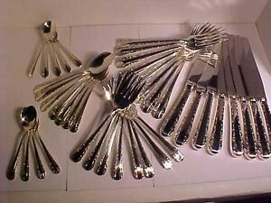 BIRKS STERLING FLATWARE SET-*ROSE BOWER* PATTERN-7 place settings PLUS!!--PROFESSIONALLY POLISHED-DISCONTINUED PATTERN.