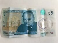 new £5 note AA03 AA18