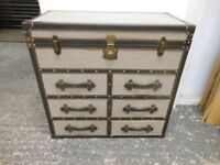 Designer Linen Fabric Travel Trunk Chest Of Drawers Large Antique Style With Leather Handles
