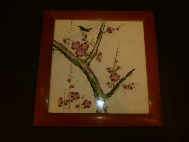 Vintage Asian Tile Trivet Bird & Blooms Moriage Accent Footed Bamboo Frame