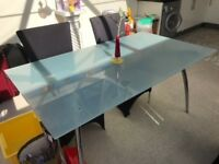 Frosted glass table free to collector **CHAIRS NOT INCLUDED**
