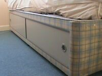 Single divan bed with storage compartment & quality mattress