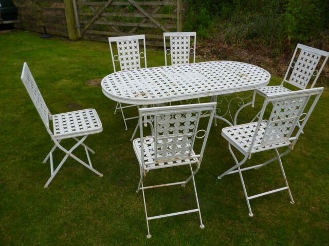 folding metal outdoor garden patio dining table and 6 chair set
