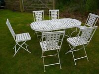 Folding Metal Outdoor Garden Patio Dining Table And 6 Chair Set.